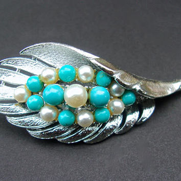 CORO Turquoise & Faux Pearl Leaf Brooch, Silver Tone, Vintage