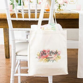 Personalized White Canvas Tote Bag - Modern Floral Tote Bag with Gussets (Pack of 1)
