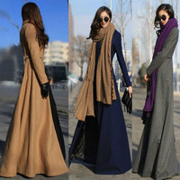 Women Slim Split Skinny Wool Long Jacket Outerwear Windbreaker _ 9354