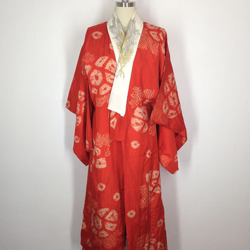 Vintage Silk Kimono / 1920s / Juban Nagajuban / Art Deco / Orange Shibori Print / Long Robe Lingerie
