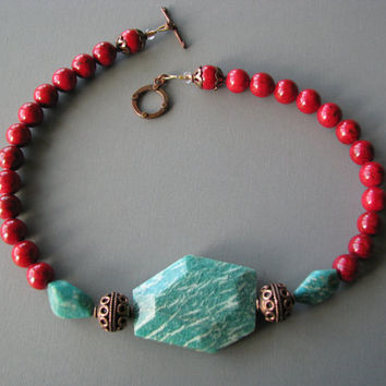Chunky Teal and Red Gemstone Necklace