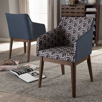 Baxton Studio Reece Mid-Century Modern Dark Blue Patterned Fabric Lounge Chair Set of 2