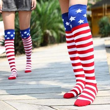 Vintage Fashion Streaks and stars Socks cotton stockings American flag Warm Stitching pattern Antiskid Invisible Casual Socks