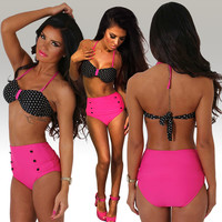 Halter Polka Dot Color Block High Waist Swimsuit