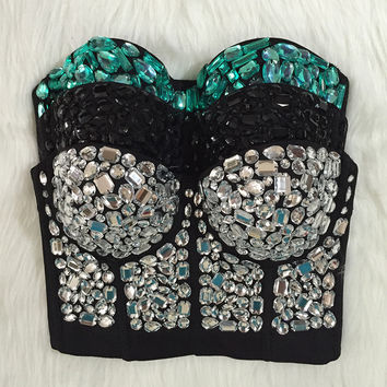 Original Hand-made Beaded Gaga Rhinestone Bustier Pearls Push Up Night Club Bralette Women's Bra Cropped Top Vest Plus Size