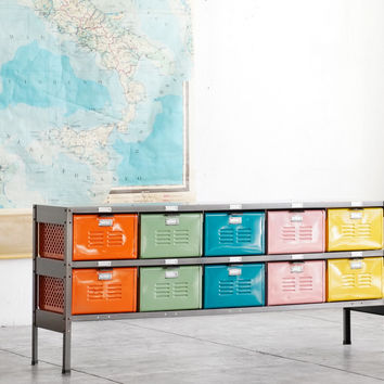 5 x 2 Reclaimed Locker Basket Unit with Natural Steel Frame and Multicolored Drawers