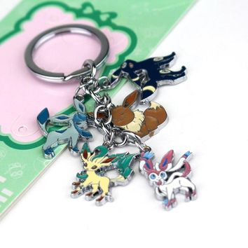 Anime  Pocket Monster Keychain Eevee Sylveon Umbreon Glaceon Leafeon Unisex Keyring Pendant Fans Gift Collectable JewelryKawaii Pokemon go  AT_89_9