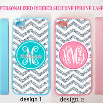 NEW PERSONALIZED CHEVRON (w/out glitter) MONOGRAM CASE FOR IPHONE 6 6S PLUS SE 5