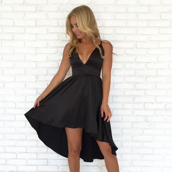 Buttercup Silk Dress in Black