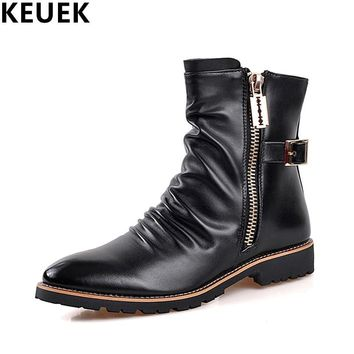 Autumn Winter Men Martin boots Split Leather Zip Ankle Motorcycle boots Male shoes Fashion Chelsea Boots 03B