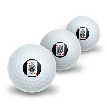 Playing Cards King of Hearts Novelty Golf Balls 3 Pack