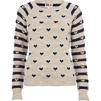 Navy Chelsea Girl heart stripe jumper
