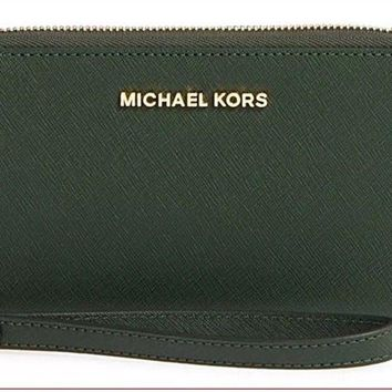 New Michael Kors Jet set Large Flat Multifunction Phone Case Wristlet Moss Green