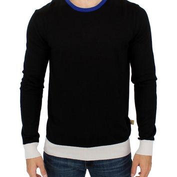 Black striped crewneck sweater