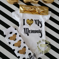 Glitter Baby Onesuit - Cute Black and Gold Glitter I Love My Mommy Baby Boy Baby Girl Bodysuit - Baby Shower Gift - Coming Home Outfit