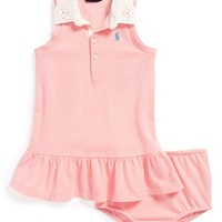 Ralph Lauren Eyelet Collar Sleeveless Polo Dress & Bloomers (Baby Girls)