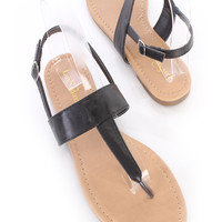 Black T Strap Slingback Thong Sandals Faux Leather
