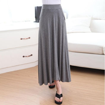 Casual Womens Modal Solid Maxi Long Skirt Stretch A Line Elastic Flared Skirt Fashion YRD