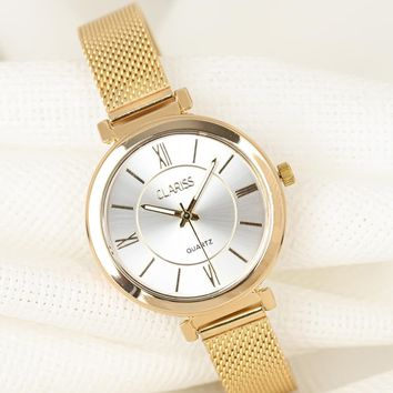 Women's Gold Plated Straw Metal Corded Round Metal Case Watch