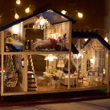Cute Room Entire Light Up  DIY Model Doll House Miniature Dollhouse with Furniture