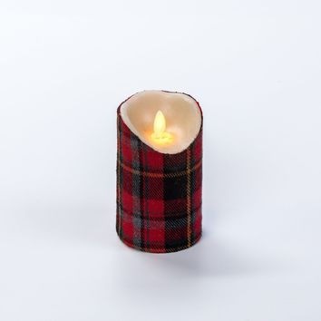 5 IN HOLIDAY RED PLAID MOVING FLAME PILLAR CANDLE WITH TIMER