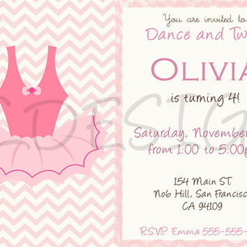 Ballerina birthday invitation. Also great for Baby Showers. Custom. Digital File