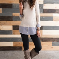 Reed Mockneck Panel Top (Oatmeal)