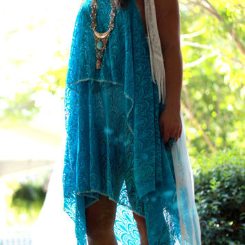 Coachella tunic slip dress, Boho dresses, Bohemian beach turquoise gypsy sundress, romantic Music Festival Clothing, True rebel clothing med