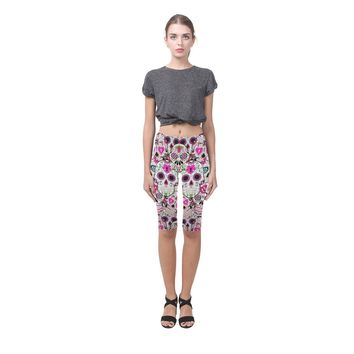 Sugar Skull Design 2 All-Over Cropped Leggings