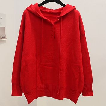 New autumn and winter thick sweet bat-style sweater sweater cap loose woman Red