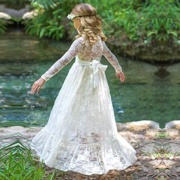 2018 Girl Lace Long Dress With Sweet Flower For Age Baby Kids Princess Wedding Prom Party White/Cream Big Bow Long Sleeved Dress