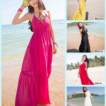 Sexy Bohemia Maxi Boho Long Summer Party Evening Beach Dress Sundress  Deep V-neck casual dress one size = 1704133444