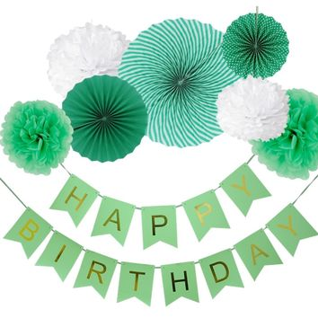 8-Pieces Green Party Decoration Set-DIY Boys Birthday Party | Birthday Banner Flower Paper Fan Set | First Birthday Party Decoration Set