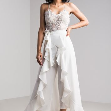 AKIRA High Waist Ruffled Maxi Skirt Wide Leg Pants in White