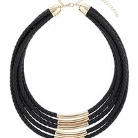Plait Cord And Bar Multi-Row Necklace - Black