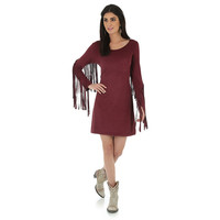 Wrangler Long Sleeve Wine Faux Suede Dress w/Fringe Sleeves