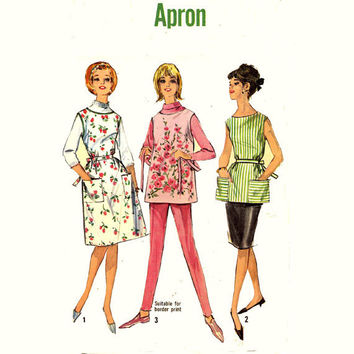 60s Womens Jiffy Apron vintage sewing pattern Simplicity 5763 Size Sm or Medium