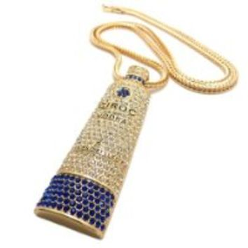 "New Iced Out Liquor Bottle Pendant 4mm/36"" Franco Chain Hip Hop Necklace XP661G"
