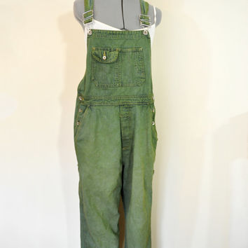 Green Medium Bib OVERALL Pants - Olive Green Dyed Upcycled Lei Cotton Denim Overalls - Adult Womens Size Medium (36 W x 29 L)