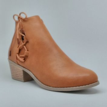Women's Tan Short Stacked Heel Boot with Laces