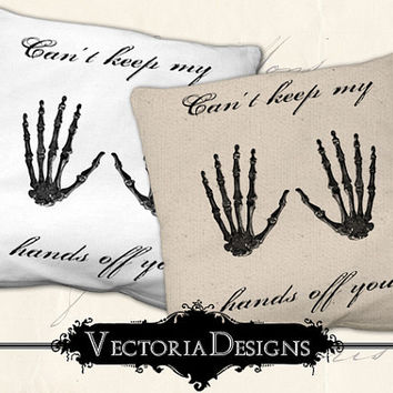 INSTANT DOWNLOAD halloween skeleton hands digital transfer vintage image iron on printable digital collage sheet 298
