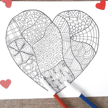 heart adult coloring valentines day card love diy instant download colouring coloring meditation zen printable print digital lasoffittadiste