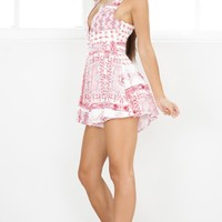 Down For The Night playsuit in red print Produced By SHOWPO