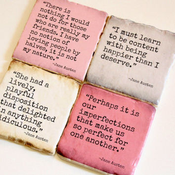 Jane Austen-Literary Quote Coasters. Pride and Prejudice, Emma. Perfect gift or home decor.
