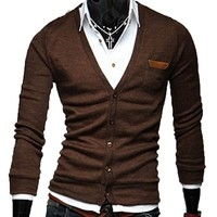 Men's Slim Fit Cotton Knit Sweater Cardigan Button Deep V Neck Basic Coat
