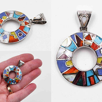 Vintage Peruvian 950 Silver Inlaid Circle Pendant, Multi-Color, Inca Calendar, Incan, Geometric Inlay, Symbolic, So Colorful! #c430