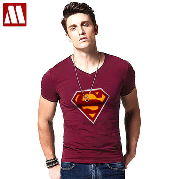 Fashion Men T Shirt New Summer cotton Short Sleeve V neck Superman flocking t-shirts Male Tee Tops