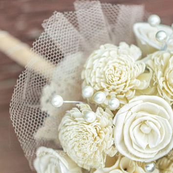 Rustic Sola Wood Bridal Wedding Flower Floral balsa Bouquet with Faux Pearls tulle cream doily Lace bridesmaid prom