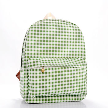 Green Canvas Plaid Backpack = 4887993668
