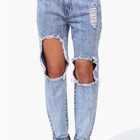 Boyfriend Ripped Jeans in Blue